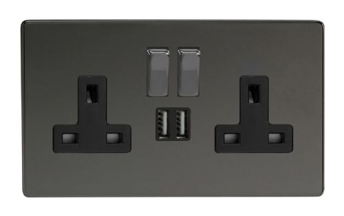 Varilight XDI5U2SBS Screwless Iridium Black 2 Gang Double 13A Switched Plug Socket 2.1A USB